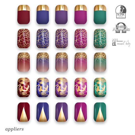 "alaskametro<3 ""Jewels/Gold"" Slink/Omega/Maitreya/Eve nail polish applier"