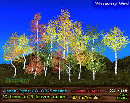 Aspen Trees: 10 mesh trees, 5 Color Seasons, Copy+Modify, Wind Animation