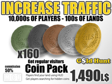Gold Hunt Coins Pack - Increase Land Traffic (50% commission)