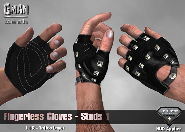 [GMan] GL - Fingerless Gloves Studs1 for AESTHETIC