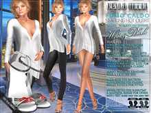Bella Moda: Fumo Caldo White & Black Smoking Hot Outfit & Shoes - Fitted for Maitreya/Slink/Classic+Std Sizes - FULL