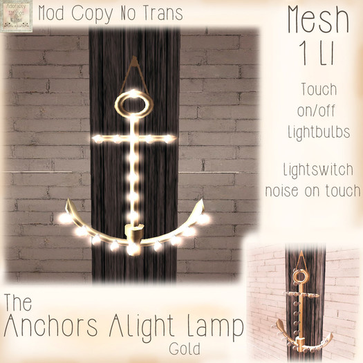 ~ASW~The Anchors Alight Lamp~Gold
