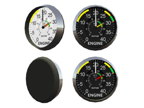 Full Perm Scripted Mesh Dual Tachomer (for Helicopters) 0.5li (Instrument / Gauge / Rotor & Engine RPM Indicator)