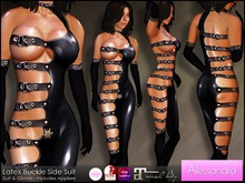 ALESSANDRA - Latex Buckle Side Suit BLACK