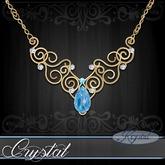 :::Krystal::: Crystal - Necklace - Gold - Blue Opal