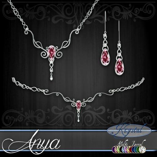 ::: Krystal ::: Anya - Jewelry Set - Platinum - MultiJewel (Simple)