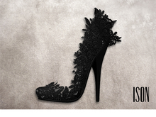 ISON - lace feather heels (black)
