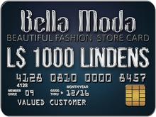 Bella Moda: Store Card / Gift Card L$1000