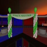 St. Patrick's Day Banner w/ Green & White Balloon Columns - Xntra City Balloons