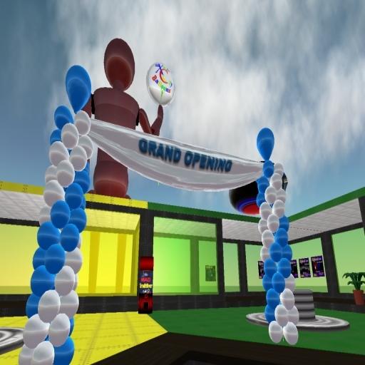 Grand Opening Banner w/ Blue & White Balloon Columns - COPY - Xntra City Balloons
