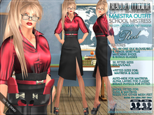 """Bella Moda: Maestra Red """"School Mistress"""" Outfit & Shoes - Fitted 5 Sizes + for Maitreya & Slink - FULL"""