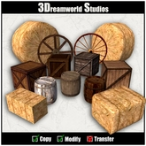 Barrels Crates Hay & Wagon Wheel