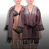 Valentina E. Rosa Silk & Lace Striped Robe Petal (Open/Close On Command)