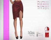 [EN] Pencil Skirt With Slit Maroon ::Mesh::