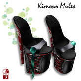 [ KIMONO ] Kimono Mules Red