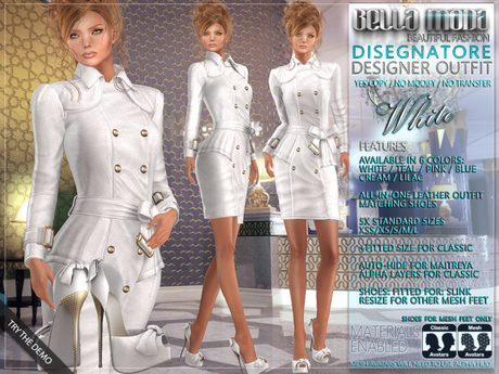 Bella Moda: Disegnatore White Leather Designer Outfit & Shoes - 5 Standard Sizes + Fitted - FULL