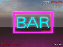 "Anna Erotica - "" Bar "" Mesh Neon Sign - 1 Prim!"