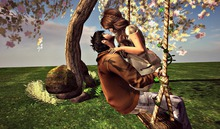 CJ Nature Swing under the Blossom Tree - c + m - Touch Vine at rope for swing - Full Set 9 Prim/Li