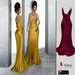 F I N E S M I T H STACIE wine long open back dress fitmesh with back necklace- maitreya, belleza, slink and 5 standard