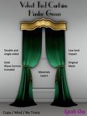 *SO* Velvet Tied Curtains - HUNTER GREEN