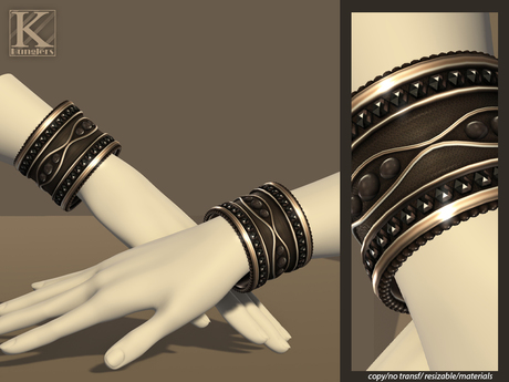 (Kunglers) Gislaine bracelets - Obsidian