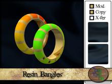 >^OeC^< Colorful Resin Bangles (gold) (box)