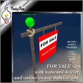 For sale sign (with notecard delivery and owner online status display)