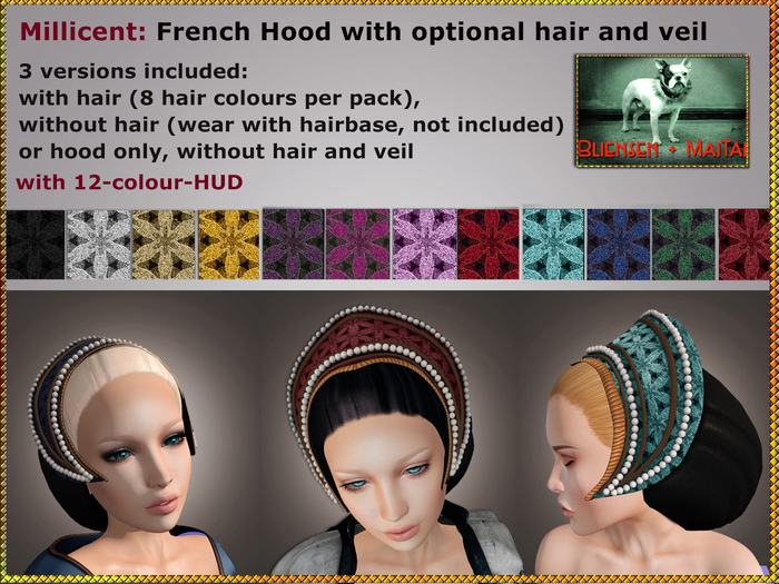 Bliensen + MaiTai - Millicent - French Hood - medieval hat with optional hair - blonds