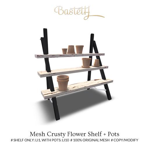 Bastet H > Mesh Crusty Flower Shelf + Pots