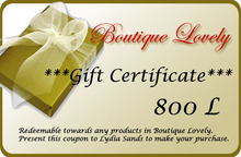 **Boutique LOVELY** Gift Certificate 800L