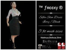 Sofi Ivory PinUp Pencil Dress Fit Mesh - tm Freeky