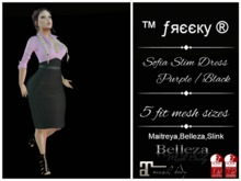 Sofi Pink/Purple PinUp Pencil Dress Fit Mesh - tm Freeky