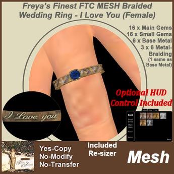 Freya's Finest MESH FTC Braided Wedding Ring - I Love You (Female)
