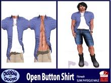 Dabble Dooya Mens Slink Open Button Shirt-Bluesman