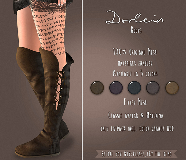 {TWS} - Dorlein Boots [Light Brown] - Maitreya, Classic Avatar