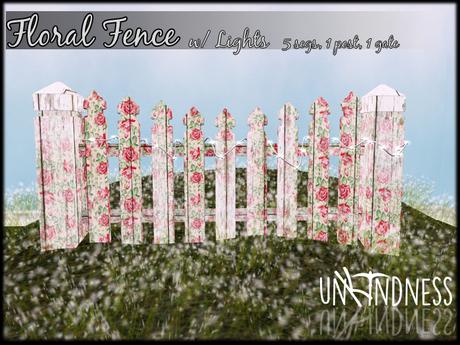 uk - Pink Floral Fence w/Lights
