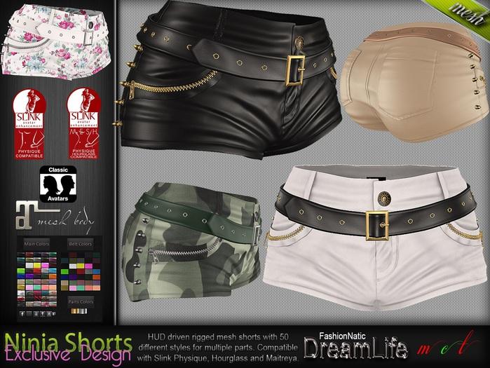 Ninia Hot Shorts MESH - Maitreya Lara, Slink Physique Hourglass - HUD - DreamLife - FashionNatic