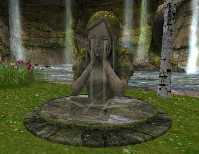 crying woman fountain mesh 7 prim new