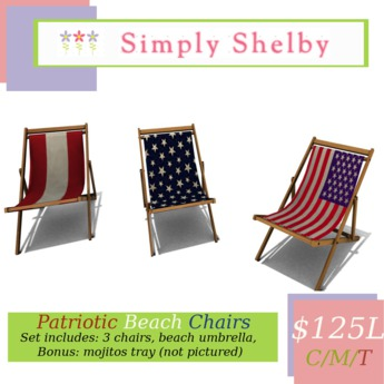 Simply Shelby Patriotic Beach Chair Trio Set