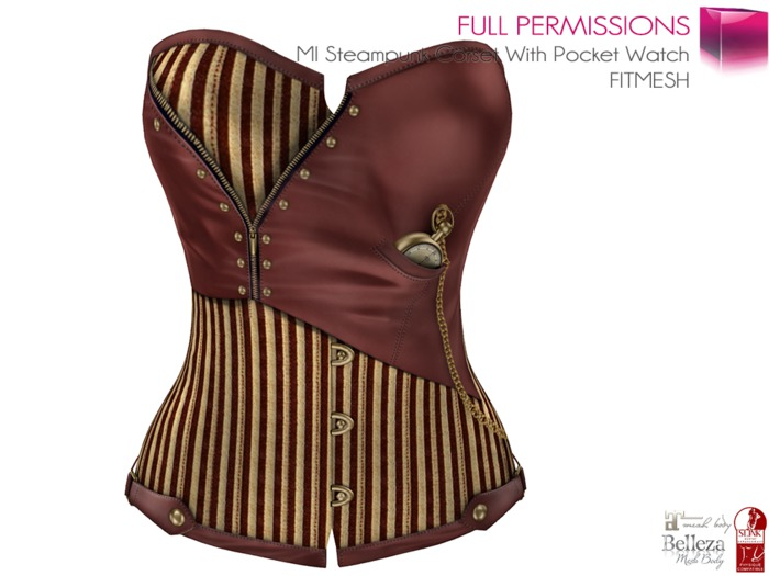 Full Perm Steampunk Corset With Pocket Watch FITMESH - Slink Physique  - Belleza Venus - Maitreya