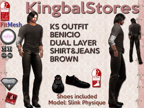 KS OUTFIT BENICIO DUAL LAYER SHIRT&JEANS BROWN