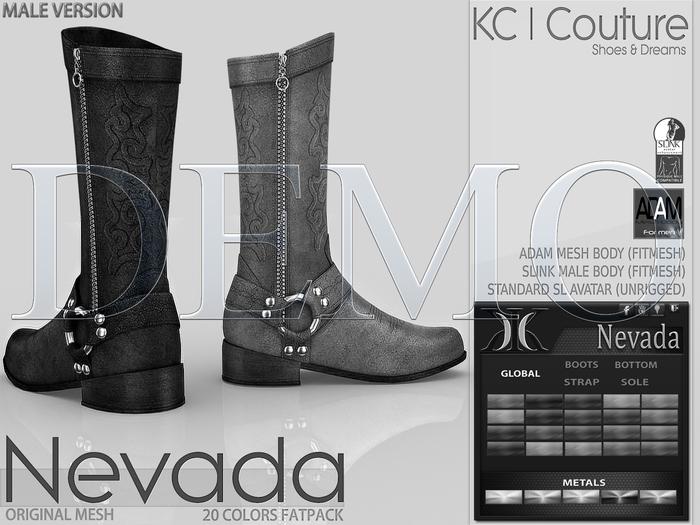 *DEMO* -KC- NEVADA MALE BOOTS - SLINK MALE, ADAM BODY,SL AVATAR