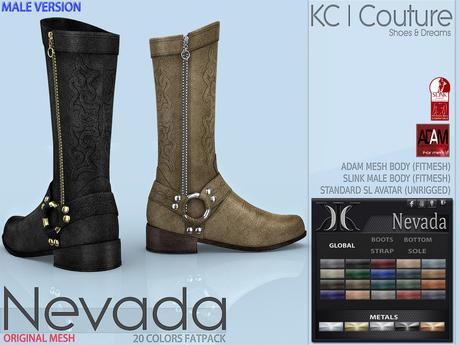 -KC- NEVADA MALE BOOTS - SLINK MALE, ADAM BODY, SL AVATAR