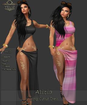 .:-->> YELIZ <<--:.  *ALICIA* Long CutOut Dress - MEGA-HUD -