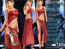 Bella Moda Abito Sensuale Crimson Sensual Gown & Shoes - Fitted Mesh for Maitreya/Slink/Classic+Std Sizes - FULL