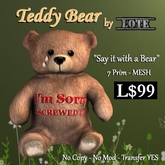 LOTE - Teddy Bear - I'm Sorry  *MESH*