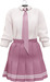 NYU -  Tie Shirt w/ Pleated Skirt, Pink