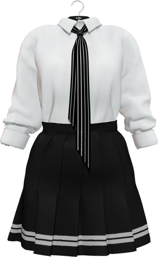 NYU -  Tie Shirt w/ Pleated Skirt, Monotone