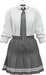 NYU - Tie Shirt w/ Pleated Skirt, Grey