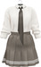 NYU -  Tie Shirt w/ Pleated Skirt, Beige